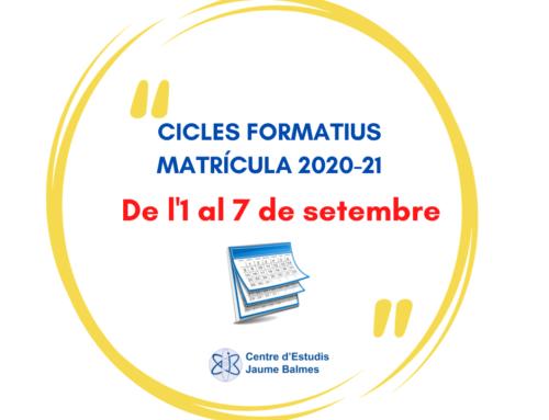 MATRÍCULA FORMACIÓ PROFESSIONAL 2020-21